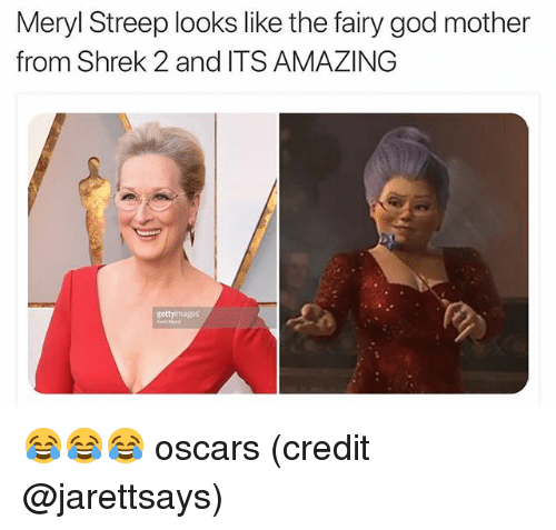 meryl: Meryl Streep looks like the fairy god mother  from Shrek 2 and ITS AMAZING  getty mages 😂😂😂 oscars (credit @jarettsays)