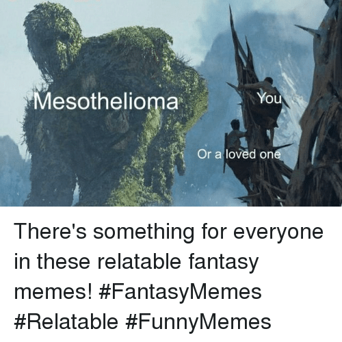 Memes, Relatable, and Fantasy: Mesothelioma  You  Or a loved on There's something for everyone in these relatable fantasy memes! #FantasyMemes #Relatable #FunnyMemes