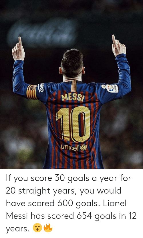 Goals, Memes, and Lionel Messi: MESS  10  unicef If you score 30 goals a year for 20 straight years, you would have scored 600 goals.  Lionel Messi has scored 654 goals in 12 years. 😮🔥