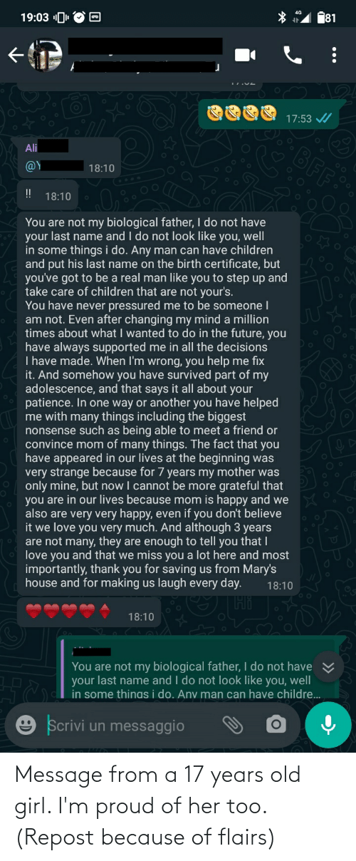 17 years: Message from a 17 years old girl. I'm proud of her too. (Repost because of flairs)