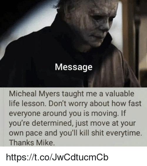 Life Lesson: Message  Micheal Myers taught me a valuable  life lesson. Don't worry about how fast  everyone around you is moving. If  you're determined, just move at your  own pace and you'll kill shit everytime.  Thanks Mike. https://t.co/JwCdtucmCb