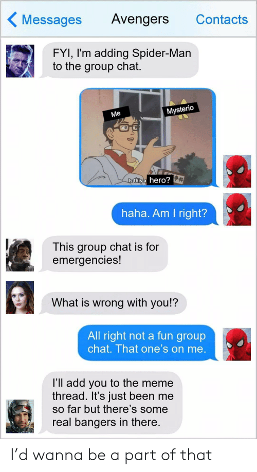fyi: Messages  Avengers  Contacts  FYI, I'm adding Spider-Man  to the group chat.  Mysterio  Me  Is this a hero?  haha. Am I right?  This group chat is for  emergencies!  What is wrong with you!?  All right not a fun group  chat. That one's on me.  l'll add you to the meme  thread. It's just been me  so far but there's some  real bangers in there. I'd wanna be a part of that