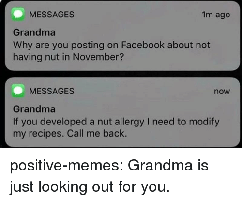 Facebook, Grandma, and Memes: MESSAGES  Grandma  Why are you posting on Facebook about not  having nut in November?  1m ago  MESSAGES  now  Grandma  If you developed a nut allergy I need to modify  my recipes. Call me back. positive-memes: Grandma is just looking out for you.