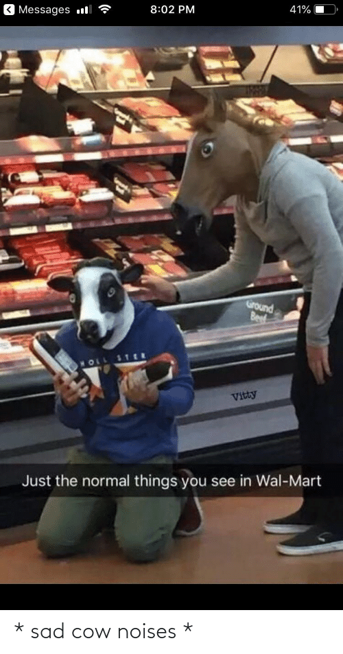 cow: Messages l  8:02 PM  41%  Ground  Beef  MOLL  Vitty  Just the normal things you see in Wal-Mart * sad cow noises *