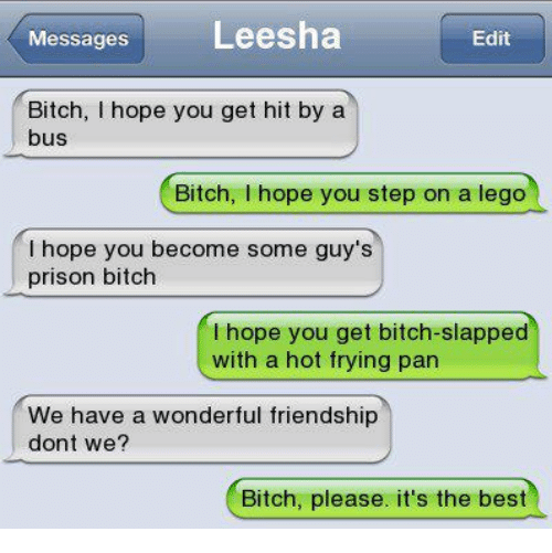 Funny, Legos, and Bitch Please: Messages  Leesha  Edit  Bitch, I hope you get hit by a  bus  Bitch  hope you step on a lego  hope you become some guy's  prison bitch  I hope you get bitch-slapped  with a hot frying pan  We have a wonderful friendship  dont we?  Bitch, please. it's the best