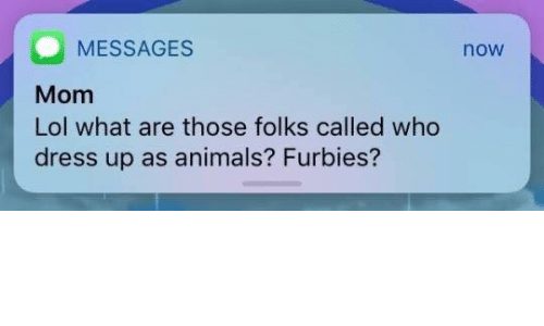 Animals, Lol, and What Are Those: MESSAGES  Mom  Lol what are those folks called who  dress up as animals? Furbies?  now