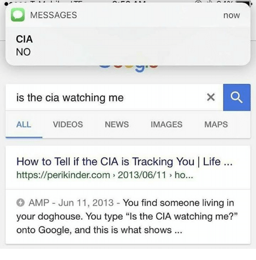 """doghouse: MESSAGES  noW  CIA  NO  is the cia watching me  IMAGES  MAPS  NEWS  ALL  VIDEOS  How to Tell if the CIA is Tracking You I Life  https://perikinder.com 2013/06/11 ho..  AMP Jun 11, 2013 You find someone living in  your doghouse. You type """"ls the CIA watching me?""""  onto Google, and this is what shows"""