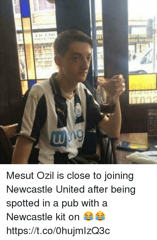 Soccer, United, and Ozil: Mesut Ozil is close to joining Newcastle United after being spotted in a pub with a Newcastle kit on 😂😂 https://t.co/0hujmIzQ3c