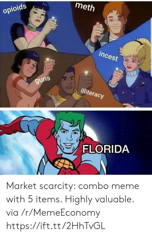 Guns, Meme, and Florida: meth  opioids  incest  guns  illiteracy  FLORIDA Market scarcity: combo meme with 5 items. Highly valuable. via /r/MemeEconomy https://ift.tt/2HhTvGL