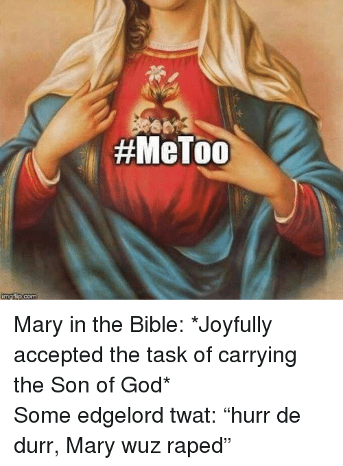 "God, Bible, and The Bible: <p>Mary in the Bible: *Joyfully accepted the task of carrying the Son of God*<br/> Some edgelord twat: ""hurr de durr, Mary wuz raped""</p>"