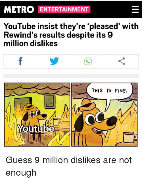 youtube.com, Guess, and Metro: METRO ENTERTAINMENT  YouTube insist they're 'pleased' with  Rewind's results despite its 9  million dislikes  THIS IS FINe.  Youtube Guess 9 million dislikes are not enough