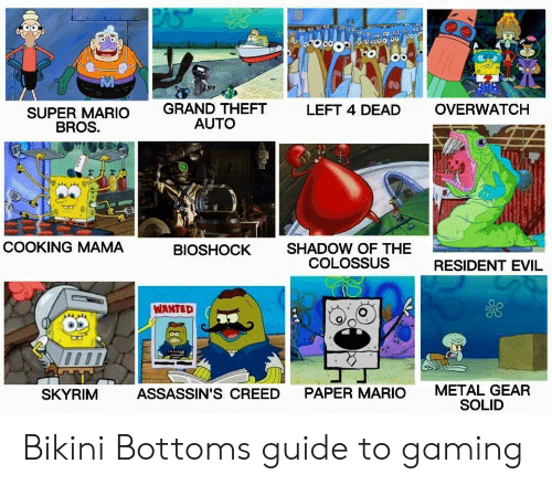 Metal Gear: Mi  GRAND THEFT  AUTO  LEFT 4 DEAD  OVERWATCH  SUPER MARIO  BROS.  COOKING MAMA  SHADOW OF THE  COLOSSUS  BIOSHOCK  RESIDENT EVIL  WANTED  METAL GEAR  SOLID  SKYRIM  ASSASSIN'S CREED  PAPER MARIO Bikini Bottoms guide to gaming