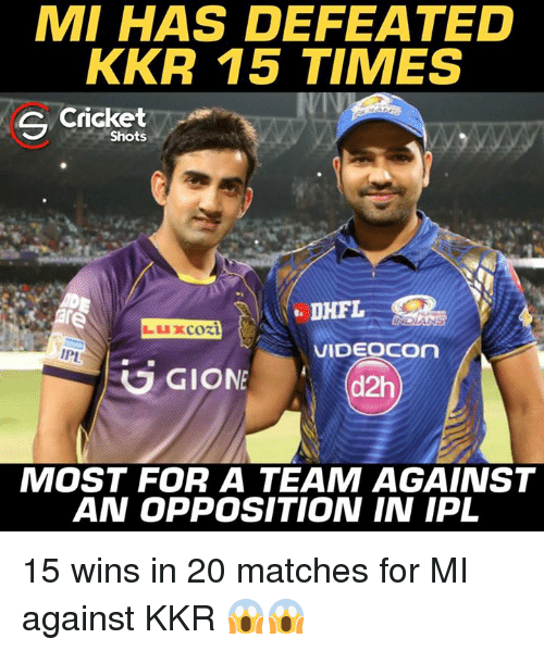 Memes, Cricket, and 🤖: MI HAS DEFEATED  KKR 15 TIMES  S Cricket  Shots  VIDEOCOn  IPL  G GIONE  d2h  MOST FOR A TEAM AGAINST  AN OPPOSITION IN IPL 15 wins in 20 matches for MI against KKR 😱😱