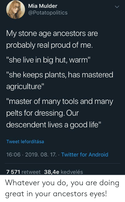 "retweet: Mia Mulder  @Potatopolitics  My stone age ancestors are  probably real proud of me.  ""she live in big hut, warm""  ""she keeps plants, has mastered  agriculture""  ""master of many tools and many  pelts for dressing. Our  descendent lives a good life""  Tweet lefordítása  16:06 2019. 08.17. Twitter for Android  7 571 retweet 38,4e kedvelés Whatever you do, you are doing great in your ancestors eyes!"
