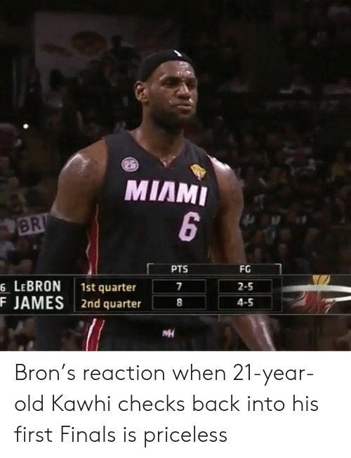 Finals, Lebron, and Old: MIAMI  BR  PTS  FG  6 LEBRON 1st quarter  F JAMES 2nd quarter8  2-5  4-5 Bron's reaction when 21-year-old Kawhi checks back into his first Finals is priceless