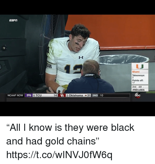 """Abc, Sports, and Black: Miami  Takeaways:  3  Points off  17  2nd :22  #NDvsMIA  NCAAF NOW T  145 Oklahoma 31  abc  6 TCU  2ND:10 """"All I know is they were black and had gold chains"""" https://t.co/wINVJ0fW6q"""