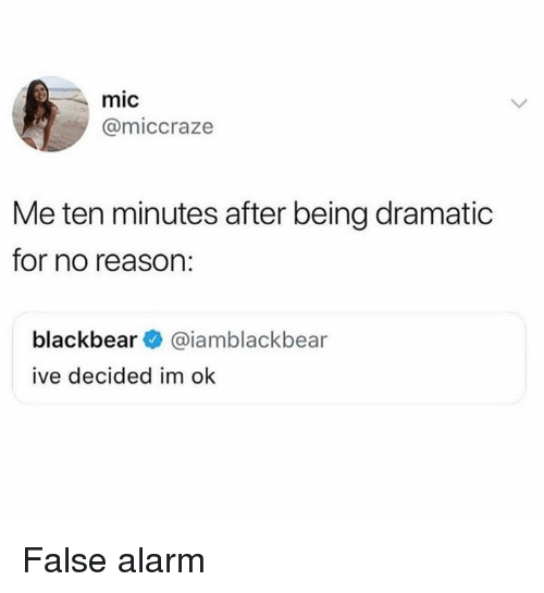 Memes, Alarm, and Reason: mic  @miccraze  Me ten minutes after being dramatic  for no reason:  blackbear@iamblackbear  ive decided im ok False alarm