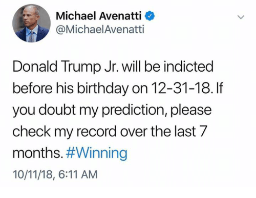 Birthday, Donald Trump, and Memes: Michael Avenatti <  @MichaelAvenatti  Donald Trump Jr. will be indicted  before his birthday on 12-31-18. If  you doubt my prediction, please  check my record over the last 7  months#Winning  10/11/18, 6:11 AM