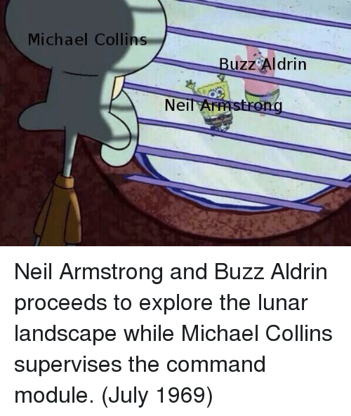 module: Michael Collins  Buzz Aldrin  NeilAF Neil Armstrong and Buzz Aldrin proceeds to explore the lunar landscape while Michael Collins supervises the command module. (July 1969)