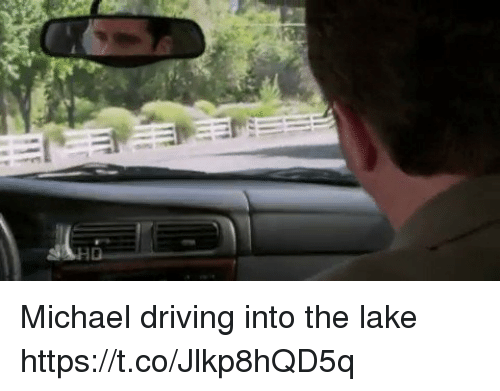 Driving, Michael, and Lakings: Michael driving into the lake https://t.co/Jlkp8hQD5q