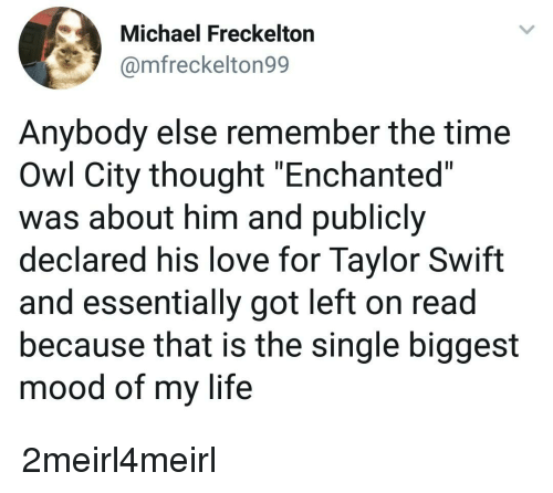 """Life, Love, and Mood: Michael Freckelton  @mfreckelton99  Anybody else remember the time  Owl City thought """"Enchanted""""  was about him and publicly  declared his love for Taylor Swift  and essentially got left on read  because that is the single biggest  mood of my life"""