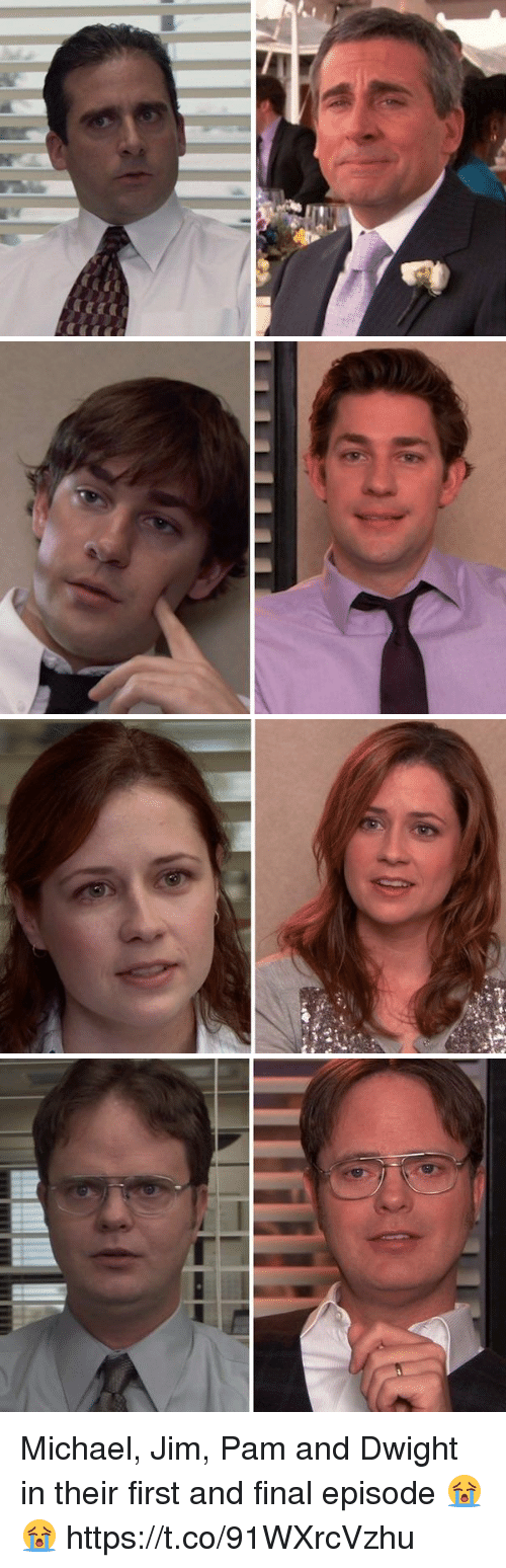 Michael, First, and Pam: Michael, Jim, Pam and Dwight in their first and final episode 😭😭 https://t.co/91WXrcVzhu
