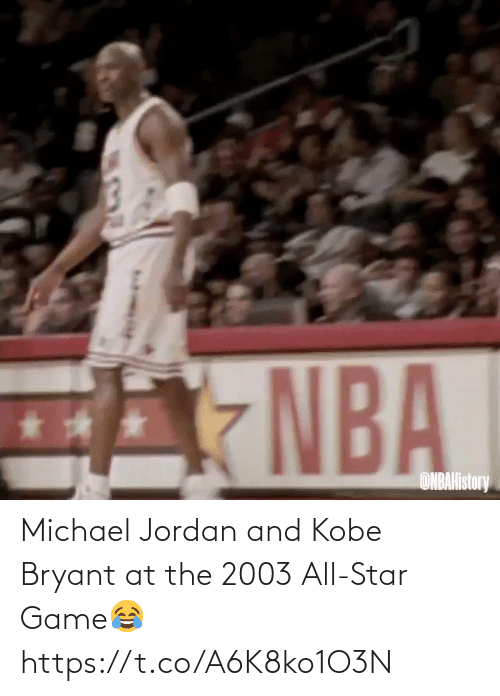 Michael: Michael Jordan and Kobe Bryant at the 2003 All-Star Game😂 https://t.co/A6K8ko1O3N