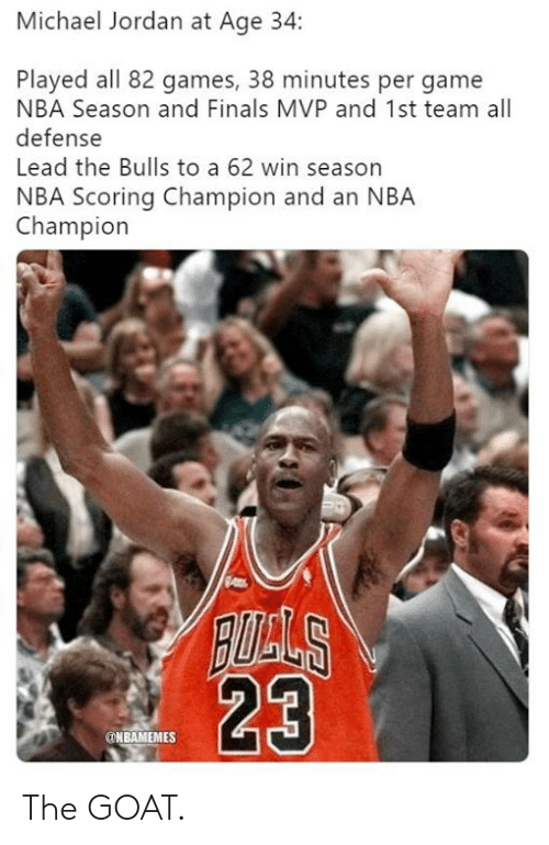 The Goat: Michael Jordan at Age 34:  Played all 82 games, 38 minutes per game  NBA Season and Finals MVP and 1st team all  defense  Lead the Bulls to a 62 win season  NBA Scoring Champion and an NBA  Champion  23  @NBAMEMES The GOAT.