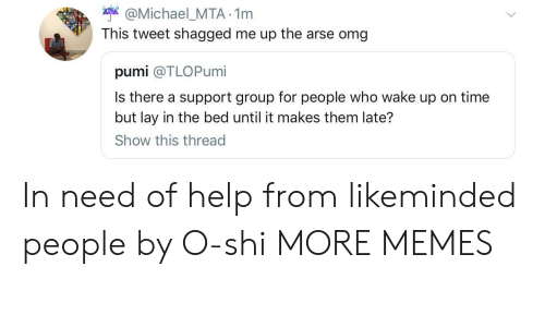 Dank, Memes, and Omg: Michael_MTA 1nm  This tweet shagged me up the arse omg  pumi @TLOPumi  Is there a support group for people who wake up on time  but lay in the bed until it makes them late?  Show this thread In need of help from likeminded people by O-shi MORE MEMES