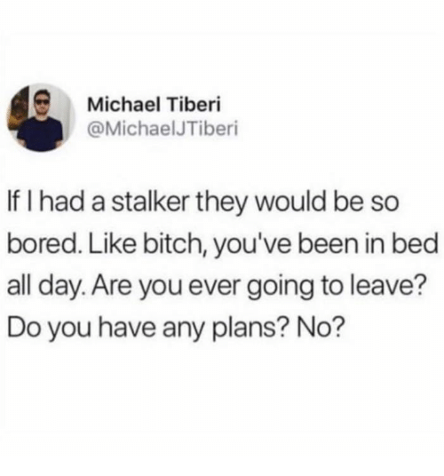 Bitch, Bored, and Michael: Michael Tiberi  @MichaelJTiberi  If I had a stalker they would be so  bored. Like bitch, you've been in bed  all day. Are you ever going to leave?  Do you have any plans? No?