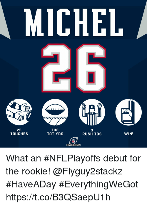 Memes, Nfl, and Rush: MICHEL  25  TOUCHES  138  TOT YDS  3  RUSH TDS  WIN!  NFL  DIVISIONAL What an #NFLPlayoffs debut for the rookie! @Flyguy2stackz  #HaveADay #EverythingWeGot https://t.co/B3QSaepU1h
