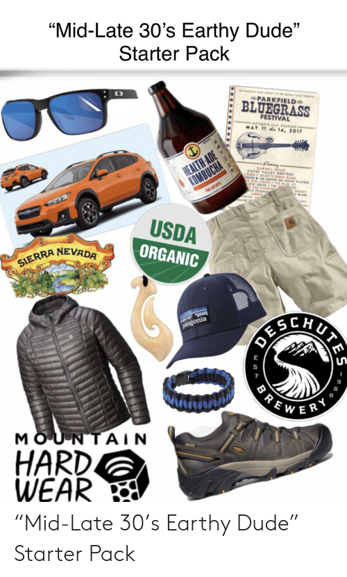 """Dude, Mother's Day, and Starter Packs: """"Mid-Late 30's Earthy Dude""""  Starter Pack  c a cas ca  PARKFIELD  BLUEGRASS  FESTIVAL  MOTHERS DAY WEEKEND  MAY 11 14, 2017  HEALTH ADE  KOMBUCHA  SAWMR ROAD  CACHE VALLEY ORTERS  LONELY HEARTSTRING BAND  CKSON&THE KNOCK ON WOOD PLAYERS  DI LIGTS THE E PS  CIFIC DRIVE E E  FUN STRINGE  LE POSSUM  AMBER  TES  SUMMIT  EBAND  PPL  eac  USDA  ORGANIC  SIERRA NEVADA  patagonia  MOUNTAIN  HARD.  WEAR  w un """"Mid-Late 30's Earthy Dude"""" Starter Pack"""