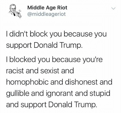 Donald Trump, Ignorant, and Memes: Middle Age Riot  @middleageriot  I didn't block you because you  support Donald Trump.  I blocked you because you're  racist and sexist and  homophobic and dishonest and  gullible and ignorant and stupid  and support Donald Trump.