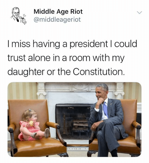Constitution: Middle Age Riot  @middleageriot  I miss having a president I could  trust alone in a room with my  daughter or the Constitution