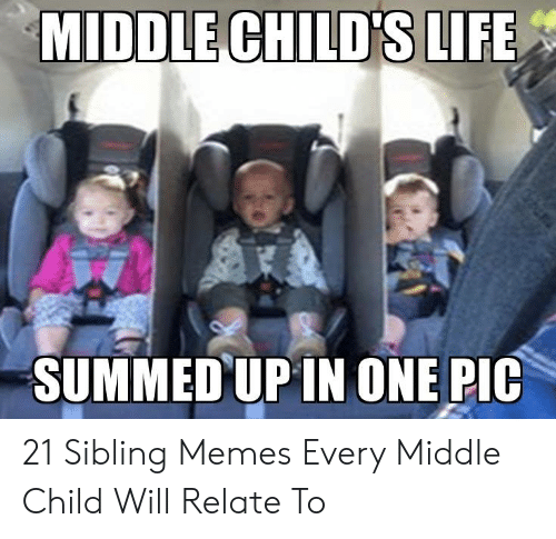 Sibling Memes: MIDDLE CHILD'S LIFE  SUMMED UP IN ONE PIC 21 Sibling Memes Every Middle Child Will Relate To