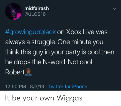 Growing Up Black, Iphone, and Party: midfairash  @JLOS16  #growingupblack on Xbox Live was  always a struggle. One minute you  think this guy in your party is cool then  he drops the N-word. Not cool  Robert  12:50 PM 8/3/19 Twitter for iPhone It be your own Wiggas