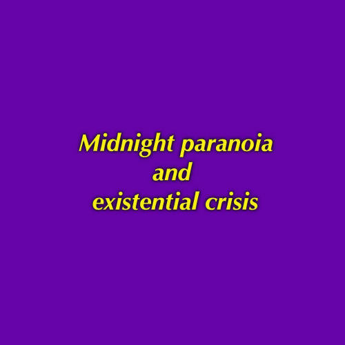 Midnight, Paranoia, and Crisis: Midnight paranoia  and  existential crisis