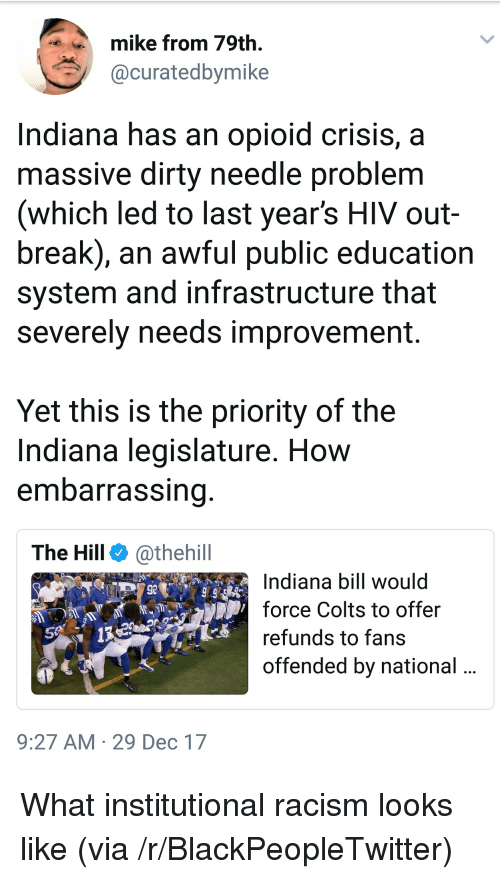 Blackpeopletwitter, Indianapolis Colts, and Racism: mike from 79th.  @curatedbymike  Indiana has an opioid crisis,a  massive dirty needle problem  (which led to last year's HIV out-  break), an awful public education  system and infrastructure that  severely needs improvement.  Yet this is the priority of the  Indiana legislature. How  embarrassing  The Hill @thehill  Indiana bill would  force Colts to offer  refunds to fans  offended by national  92  9:27 AM 29 Dec 17 <p>What institutional racism looks like (via /r/BlackPeopleTwitter)</p>