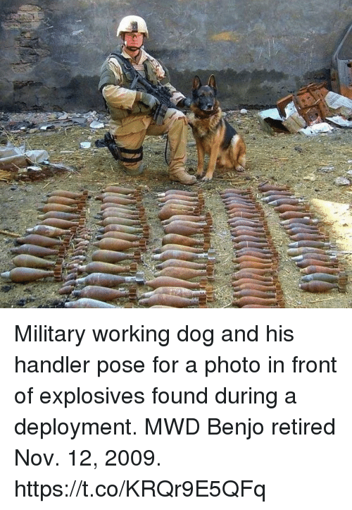 Memes, Military, and 🤖: Military working dog and his handler pose for a photo in front of explosives found during a deployment. MWD Benjo retired Nov. 12, 2009. https://t.co/KRQr9E5QFq