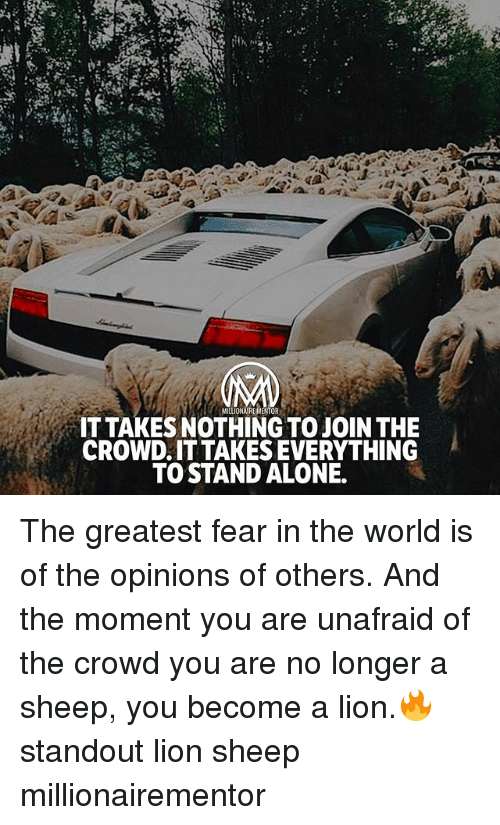 Being Alone, Memes, and Lion: MILLIONAIREMENTOR  IT TAKES NOTHING TO JOIN THE  CROWD.IT TAKES EVERYTHING  TO STAND ALONE. The greatest fear in the world is of the opinions of others. And the moment you are unafraid of the crowd you are no longer a sheep, you become a lion.🔥 standout lion sheep millionairementor