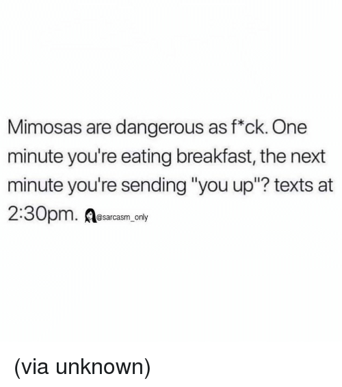"""Funny, Memes, and Breakfast: Mimosas are dangerous as f*ck. One  minute you're eating breakfast, the next  minute you're sending """"you up""""? texts at  2:30pm. Resarasam, ony (via unknown)"""