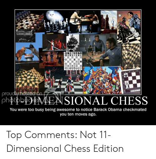 Four Dimensional Chess: Min  prou  SIONAL CHESS  You were too busy being awesome to notice Barack Obama checkmated  you ten moves ago. Top Comments: Not 11-Dimensional Chess Edition