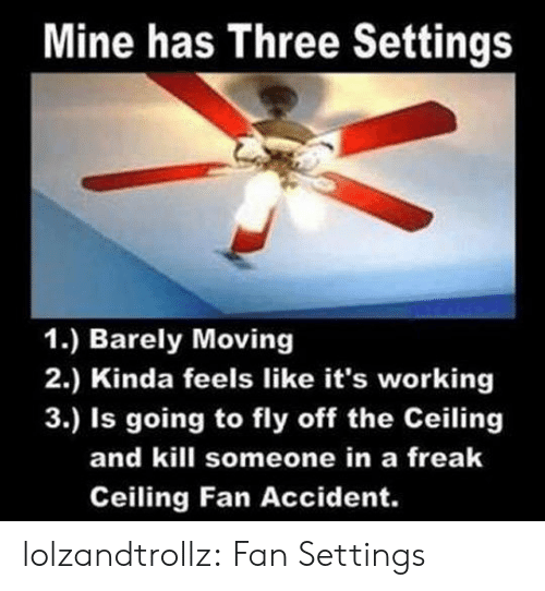 its working: Mine has Three Settings  1.) Barely Moving  2.) Kinda feels like it's working  3.) Is going to fly off the Ceiling  and kill someone in a freak  Ceiling Fan Accident. lolzandtrollz:  Fan Settings