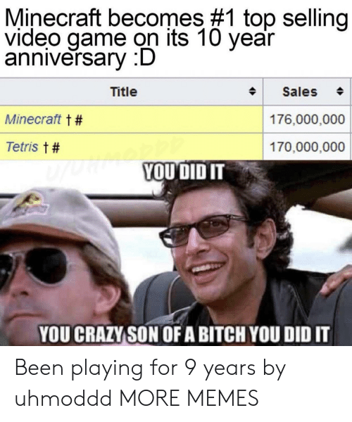 Tetris: Minecraft becomes #1 top selling  video game on its 10 year  anniversary :D  Title  Sales  Minecraft t #  176,000,000  Tetris t #  170,000,000  YOUDID IT  YOU CRAZY SON OFA BITCH YOU DID IT Been playing for 9 years by uhmoddd MORE MEMES