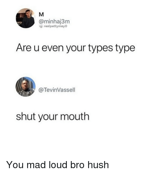 Memes, Mad, and 🤖: @minhaj3m  ig:realpettymay  Are u even your types type  @TevinVassell  shut your mouth You mad loud bro hush