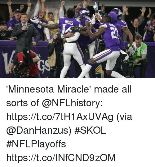 Memes, Minnesota, and 🤖: 'Minnesota Miracle' made all sorts of @NFLhistory: https://t.co/7tH1AxUVAg (via @DanHanzus) #SKOL #NFLPlayoffs https://t.co/INfCND9zOM
