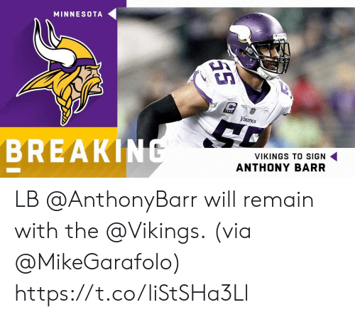 the vikings: MINNESOTA  Vth  BREAKIN  VIKINGS TO SIGN  ANTHONY BARR LB @AnthonyBarr will remain with the @Vikings.  (via @MikeGarafolo) https://t.co/liStSHa3Ll