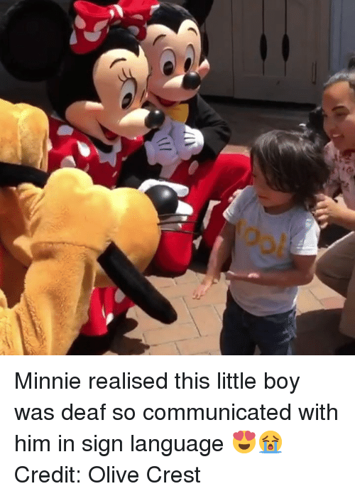 Sign Language, Boy, and Him: Minnie realised this little boy was deaf so communicated with him in sign language 😍😭  Credit: Olive Crest