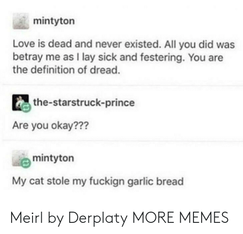Dank, Love, and Memes: mintyton  Love is dead and never existed. All you did was  betray me as I lay sick and festering. You are  the definition of dread.  the-starstruck-prince  Are you okay???  mintyton  My cat stole my fuckign garlic bread Meirl by Derplaty MORE MEMES
