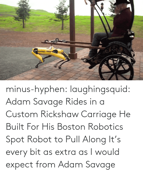 spot: minus-hyphen: laughingsquid: Adam Savage Rides in a Custom Rickshaw Carriage He Built For His Boston Robotics Spot Robot to Pull Along   It's every bit as extra as I would expect from Adam Savage